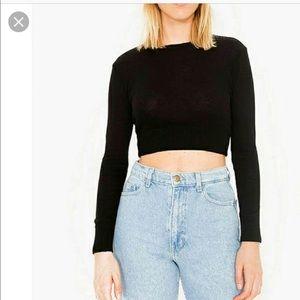 American Apparel lightweight crop sweater black M